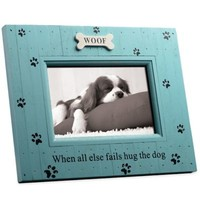 Hug the Dog 4-Inch x 6-Inch Distressed Wood Frame