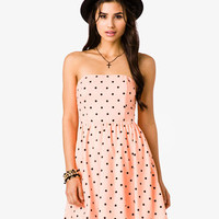 Strapless Polka Dot Print Dress