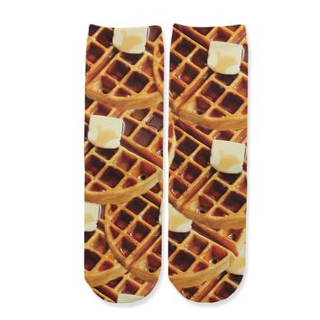 Function - Kids Waffles and Syrup Food Youth Boys Girls Children Fashion Socks