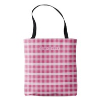 Personalized Pink Plaid Tote Bag