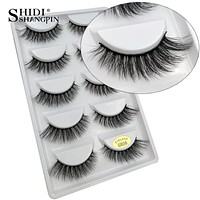 SHIDISHANGPIN 5 pairs mink eyelashes natural long false eyelashes 3d mink lashes 1 box extension eyelash for makeup faux lashes