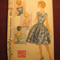 Complete 1950's Simplicity Sewing Pattern, 3965! Size 15 Bust 35 Flared Dress