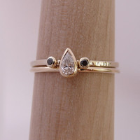 Pear Engagement Ring with Black Diamond Ring - Wedding  Set - Diamond Ring Set - 14kt Solid Gold