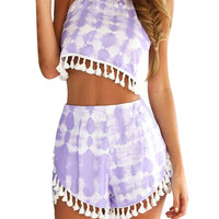 Tie-dye Pom Pom Hem Co-ord In Purple