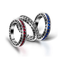 Fashion personality sisters red silver blue ring size 5 6 7 8 9 fine jewerly SA405
