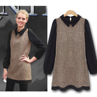 A 082730 Retro fashion lapel long-sleeved dress stitching