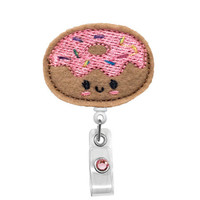 Frosted Donut Happy Face - Name Badge Holder - Nurses Badge Holder - Cute Badge Reels - Unique  ID Badge Holder - Felt Badge - RN Badge Reel