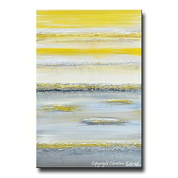 GICLEE PRINT Art Yellow Grey Abstract Painting Wall Art Modern Canvas Prints Urban Gold White City