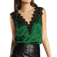 2018 New Women Sexy Lace Tank Tops Camisole Smooth Satin V Neck Sleeveless Tops