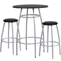 Flash Furniture Bar-Height Table and Stool Set with Bowed-Out Legs, Black - Walmart.com