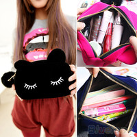 Pretty Long Eyelash Cat Travel Makeup Cosmetic Bag