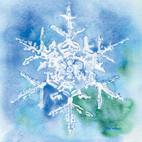 Snowflake Watercolor Painting - 11 x 14 - Giclee Print - Wall Art - Blue Snowflake Painting