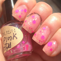 Matte Pink Party - in the pink line -  Nail Polish - large bottle - matte - polish - glitter - lacquer - top coat