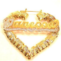 14k Gold Overlay 3 Inch Personalized Any Name Bamboo Earrings Heart