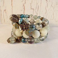 Boho Chic Wire Wrap Bracelet, Natural China Jade, Cool Aqua, Rainbow Green A/B Crystal Glass, Brass Charms, OOAK