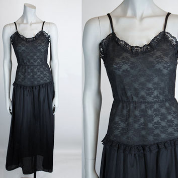 Vintage 80s Nightgown / 1980s Black Nylon and Lace Night Gown S