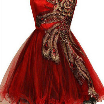 Peacock Embroidery Red Short Homecoming Dress