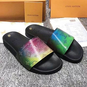 LV Louis Vuitton Fashion New Monogram Print High Quality Colorful Women Men Slippers Shoes