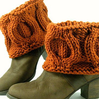 Hand Knit Winter Caramel Brown Boot Covers, Short Woodland Boot Toppers