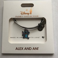Disney Alex and Ani Parks Stitch Charm Black Metal Bracelet New with Box