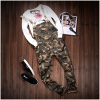 *online exclusive* men's camouflage slim straight stretch twill overalls