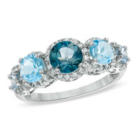 6.0mm Blue Topaz, Lab-Created Aquamarine and White Sapphire Ring in Sterling Silver