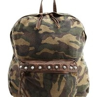 Studded Camo Print Backpack: Charlotte Russe