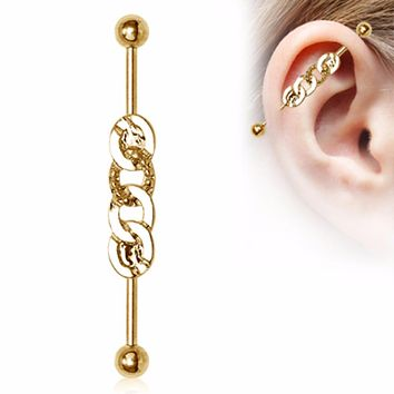 Gold Plated Rope Chain Industrial Barbell