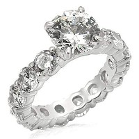 Silver Ring Set LOS244 Rhodium 925 Sterling Silver Ring with AAA Grade CZ