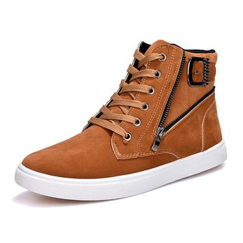 Fashion Spring New Men Casual High Top Shoes Round Toe Zip Cross Lace Up Metal Decoration Buckle Male Ankle Shoes