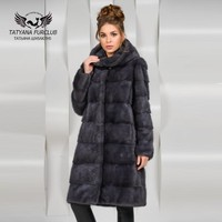 Tatyana Furclub Luxury Long Mink Fur Coat Mink Fur Hooded,Real Natural Fur Coat,Women's Fur Coat Female Jacket,Mink Coat