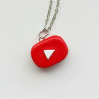 Polymer Clay YouTube Logo Necklace