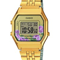 Retro Gold-Tone and Floral Digital Watch by Casio