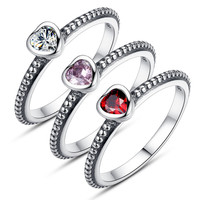 3 Colors Authentic 925 Sterling Silver Ring Love Heart Ring Compatible with Original Pandora for Woman Wedding Jewelry