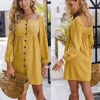 2020 new women's button long sleeve square collar dress