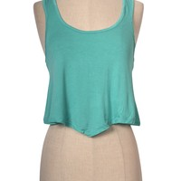 Sexy Candy Colors Sleeveless Scoop Neck Irregular Hem Cropped Racerback Tank Top