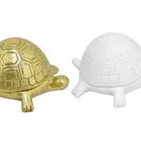 Asst. of 2 Turtle Boxes, White/Gold, Boxes