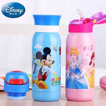 Disney Mickey Mouse Thermos Cup Kids Thermo Mug Minnie Straw Insulated Drink Water for Bottle Pooh Vacuum Flask Fun Tumbler