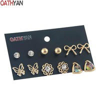 OATHYAN 6 Pairs/Set Classic Rhinestone Colorful Crystal Stud Earrings Set For Women Gold Color Alloy Butterfly Flower Earring