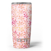 The Pink and Orange Watercolor Clovers - Skin Decal Vinyl Wrap Kit compatible with the Yeti Rambler Cooler Tumbler Cups