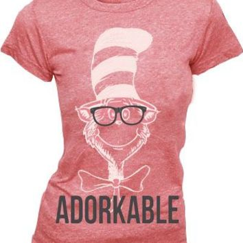 Dr. Seuss Adorkable Cat in the Hat Heathered Red Juniors T-shirt