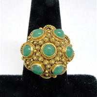 Domed Cocktail Ring. Green Adventurine, Vintage Chinese export. Dinner