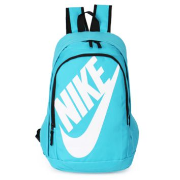 NIKE Fashion Letters Sports backpack (7 color) Sapphire Light blue