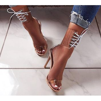 Open Toed Sexy Lace-Up Transparent High Heels