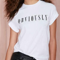 Women's white simple OBVIOUSLY letter printing round collar short sleeve T-shirt = 1956834372