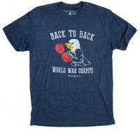 Back to Back World War Champs - Eagle Edition -Vintage Tee - Navy
