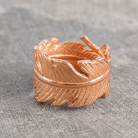Rose Gold Chunky Leaf Motif Band Ring