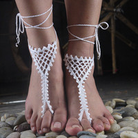 Ethnic Lace Anklet Bracelet Crochet Barefoot Sandals Foot Jewelry Accessory Gift-07