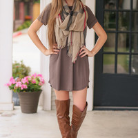 Common Law Tee Shirt Dress - Dark Taupe