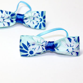 Blue Flower Dog Bow. Blue Satin Ribbon with White Flowers Blue Flowers and Royal Blue Satin Ribbon. Hair Bow for Puppies and Small Dogs.